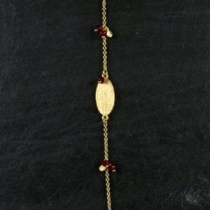 Armbånd m/rød jade
