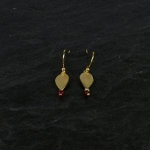Hook Øreringe guld/rød jade