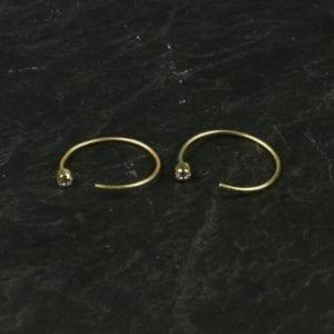 Øre Ring med krystal /guld