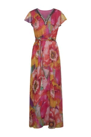 Maxidress flowers & pearls