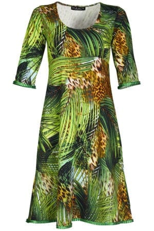 Yvette Dress palm leafs green