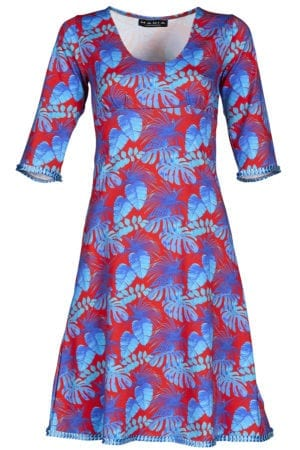 Stella Dress Vintage red, blue leafs
