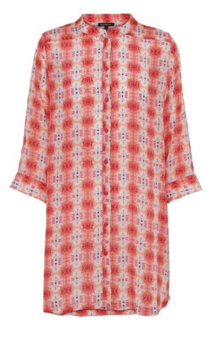 Silk Shirt coral batik
