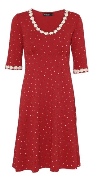 Yvonne dress small dot , Red