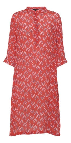 Kaftan dress silk coral flower