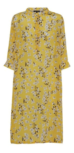 Kaftan dress silk yellow flower