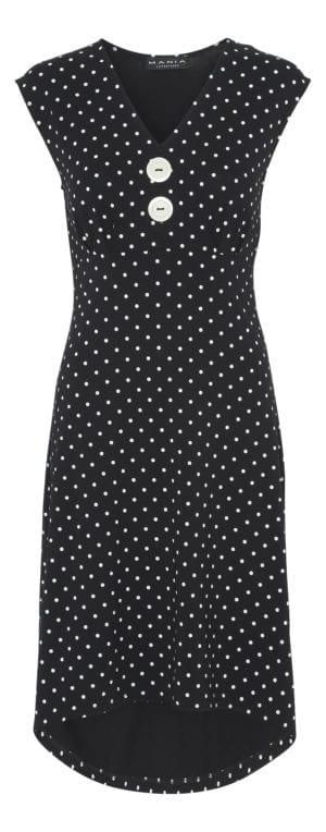 Pin-Up Dress black dot , white U/Æ