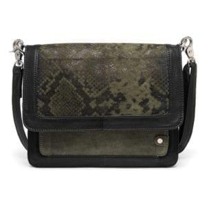 Crossover taske med slangeprint green / 13826