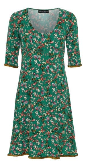 Yvette Dress Green Vintage Fleur, mustard