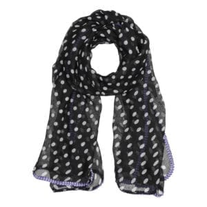 MANIA Tørklæde Black/purple dot