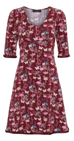 Stella Dress Burgundy flamingo