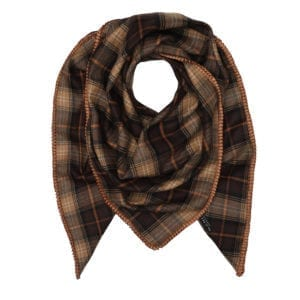 Oversize Scarf Checks wool cognac satin