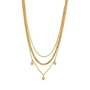 Vanity Triple Necklace Gold Plating
