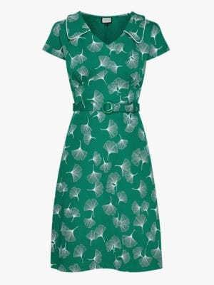 Dress-Vintage moment Ginko Leaves Green