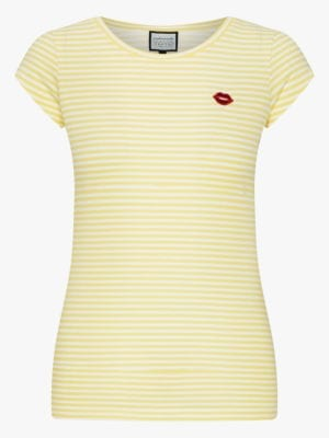 T-Shirt Casual Elegance Yellow/White Stripes