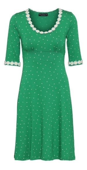 Yvonne dress small dot , green