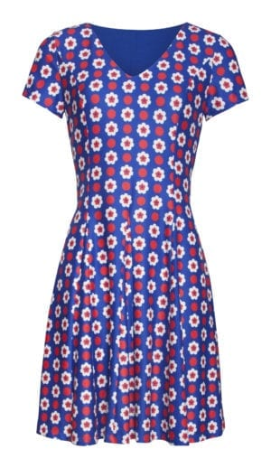 Dress Blue retro flower