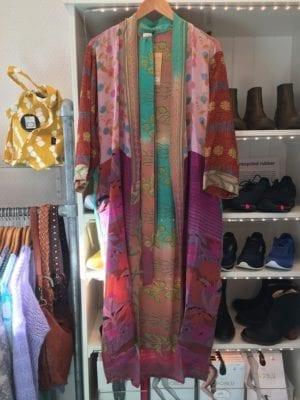 Vintage sarisilk Long kimono multi mix Onesize