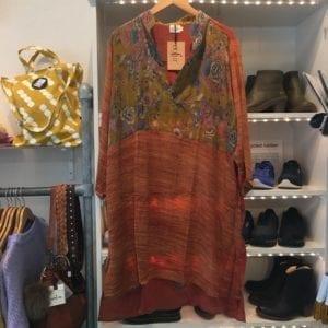 Vintage sarisilk shirtdress flower/orange mix 2XL (Kopier)