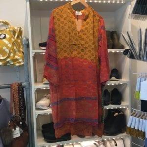 Vintage sarisilk shirtdress yellow/orange mix 2XL
