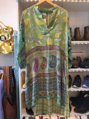 Vintage sarisilk shirtdress green mix M/L