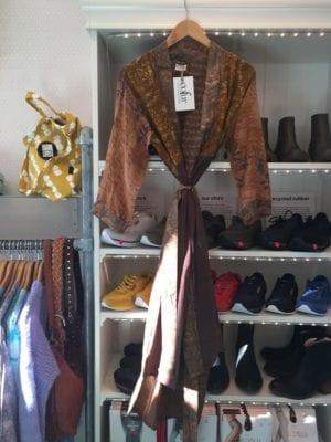 Vintage sarisilk Long kimono Mocca mix Onesize