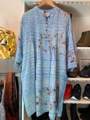 Vintage sarisilk Boho dress light blue XL