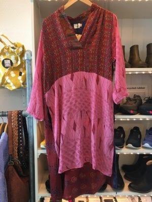 Vintage sarisilk shirtdress burgundy/pink mix M/L