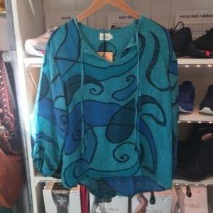 Jaipur shirt sarisilk M/L Aqua