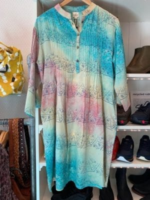 Vintage sarisilk Boho dress pastel rose/blue M/L