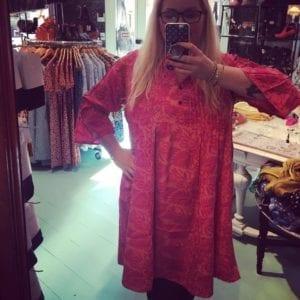 Vintage sarisilk Boho dress pink M/L