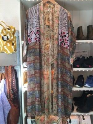 Vintage sarisilk Long kimono pastel mix Onesize