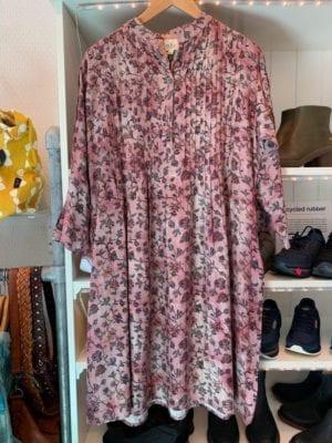 Vintage sarisilk Boho dress rose flower M/L