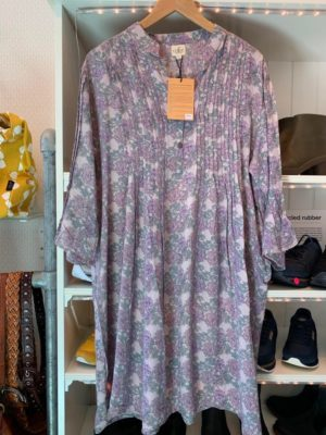 Vintage sarisilk Boho dress lavender flower XL