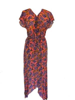 Amber wrapdress silk coral big blue flower