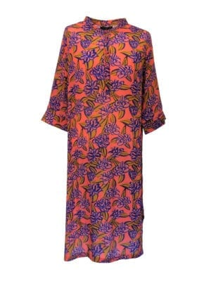Jennifer dress silk coral big blue flower