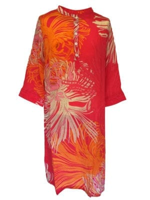 Jennifer dress silk coral big flower