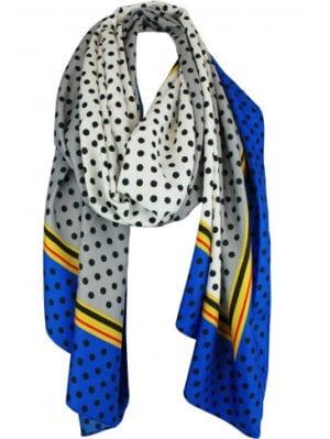 Viscose/silke satin Tørklæde dots grey/blue