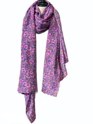 Vintage sarisilk Oversize scarf/sarong 4 Lilac flower