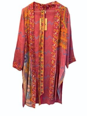 Vintage sarisilk short kimono fuchia mix M/L
