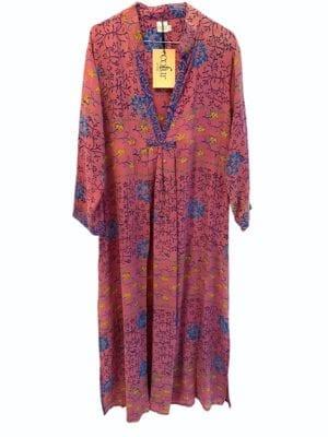 Vintage sarisilk Goa maxidress dusty purple,blue S/M