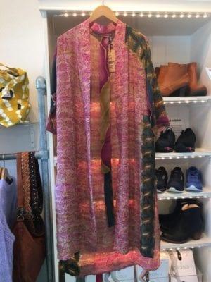 Vintage sarisilk Long kimono pink green mix Onesize