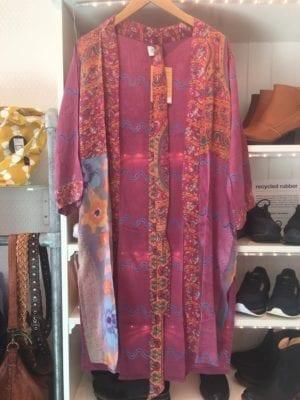 Vintage sarisilk short kimono puple mix M/L