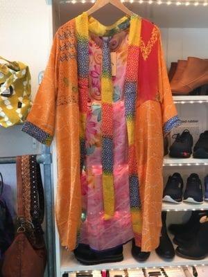 Vintage sarisilk short kimono orange rainbow mix M/L