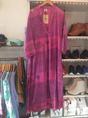 Vintage sarisilk Goa maxidress pink S/M