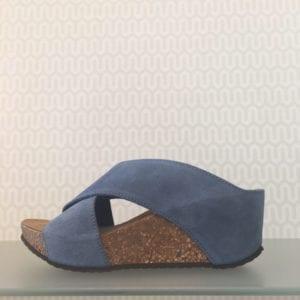 Franches sandal Jeans blue suede