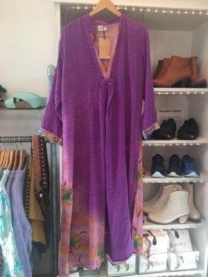 Vintage sarisilk Goa maxidress purple XL