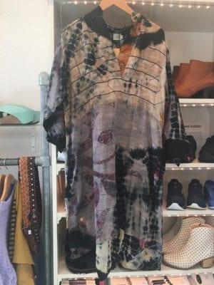 Vintage sarisilk shirtdress pastel/black batik mix XL