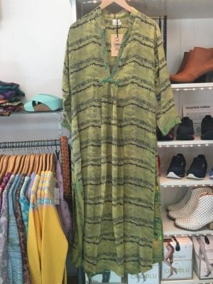 Vintage sarisilk Goa maxidress dusty Green S/M