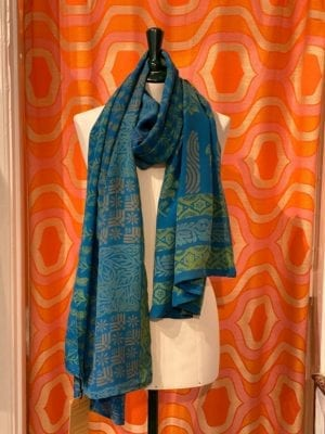Vintage sarisilk Oversize scarf/sarong 2 Blå
